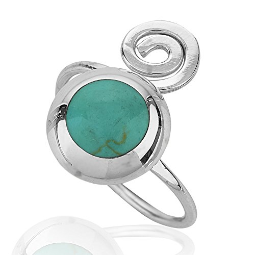 Chuvora 925 Sterling Silver Blue-green Reconstructed Turquoise Gemstone Adjustable Swirl Ring, Size (Reconstructed Stones Ring)