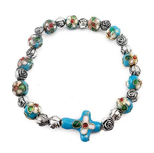 Catholic Cross Bracelet Turquoise Cloisonne Beads Wrist Rosary Bangle Christian Adjustable