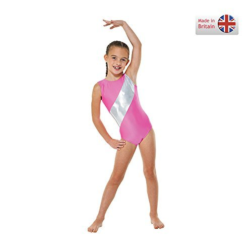 Tappers & Pointers Girls Gymnastics Leotard Sleeveless Lycra with Silver Stripe GYM5 (Flo Pink, 11-12 years)