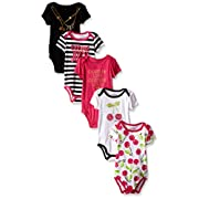 Juicy Couture Baby Girls' 5 Pack Bodysuit, Cherry/Black, 6-9 Months