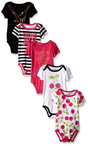 Juicy Couture Baby Girls' 5 Pack Bodysuit, Cherry/Black, 0-3 Months