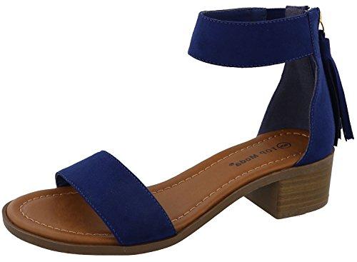 Top Moda Women's Tassel Fringe Zip Back Block Heel Sandal (7 B(M) US, Dark Blue)