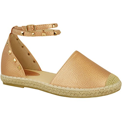 Fashion Thirsty Womens Espadrilles Ankle Strap Flat Summer Sandals Gold Stud Shoes Size 6