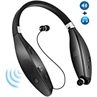 AIVANT Wireless Foldable Neckband Speakers Portable 2 in 1 Sweat-proof Earbuds/Retractable Headphones For iPhone, iPad, Android and More5 Hrs Speaker Music Time(SX-805 Black)