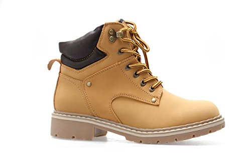 Forever Broadway-5 Women's Military Combat Lace Up Padded Cuff Martin Boot Slip-Resistant Hiking Outdoor Work Shoes Ankle Short Boot Camel