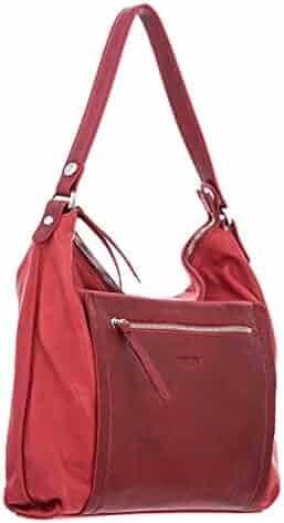 6b21a7585669f1 Elizabetta Womens Handmade Italian Leather Hobo Shoulder Handbag, Red