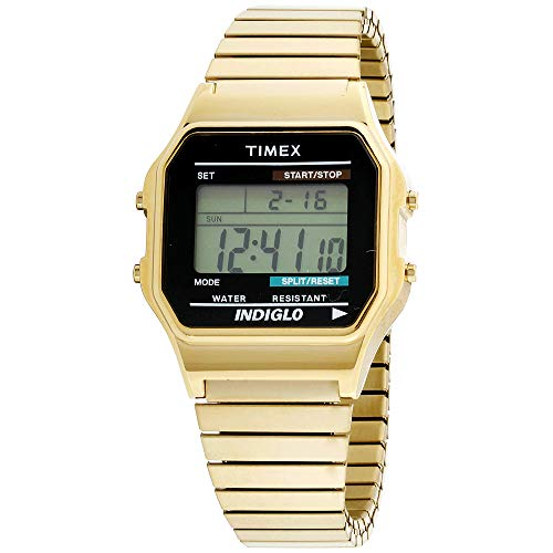 Timex Men's T78677 Classic Digital Gold-Tone Stainless Steel Expansion Band Watch