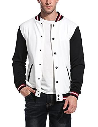 Coofandy Men Varsity Jacket Fashion Long Sleeve Button Front ...
