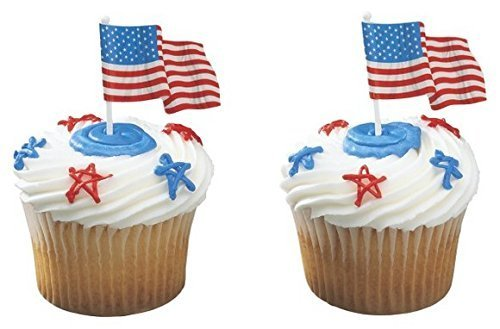 American Flag USA Patriotic Cupcake Topper Decopicks - 24 Count (American Flag Cupcake Picks)