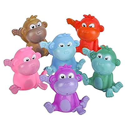 Rhode Island Novelty 2 Inch Rubber Water Squirting Monkeys Set of 12: Toys & Games