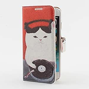 DJ Cat Pattern PU Leather Case with Stand and Card Slot for iPhone 6 Protective Smartphone Shell