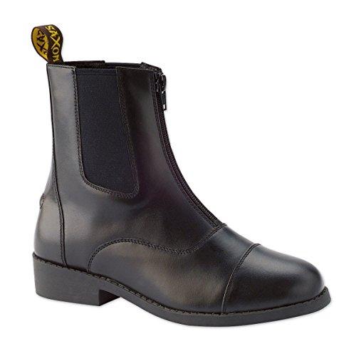 Saxon Equileather Damen Stiefel mit Reißverschluss vorne, Schwarz, Größe 39