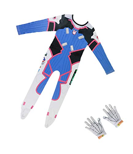 OW Kids Size D.Va Jumpsuit Bunny Girl Cosplay Bodysuit Game Anime Costume Dress-up with Gloves for Kids Pink