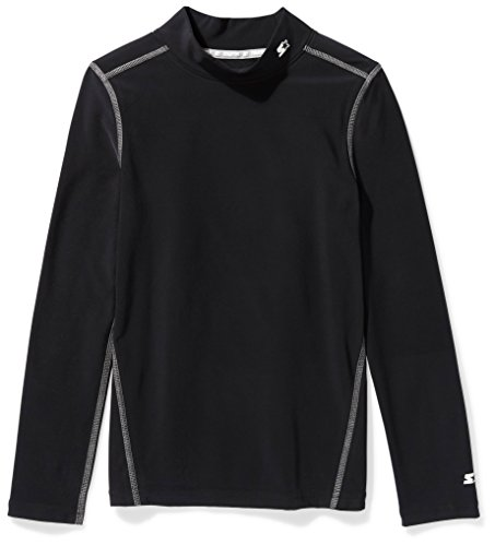 Starter Boys' Long Sleeve Mock Neck Athletic Light-Compression T-Shirt, Prime Exclusive, Black, XS (4/5)