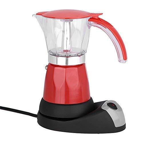 300ml Cafetera Moka eléctrica,6 Tazas Máquina de café con Base eléctrica(Red)