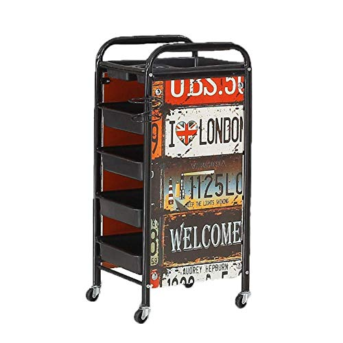TATROLLEY 5 Tiers Retro Salon Cart Hairdresser Trolley Barber Tray Beauty 4 Drawers Rolling Castors Cart with Hair Dryer Holder Storage Tool