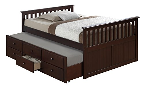 Island Full Captain's Bed with Trundle, Espresso Full-Sized Bed with Twin-Sized Trundle, Bunk Bed Alternative, Great for Sleepovers, Underbed Storage/Organization ()