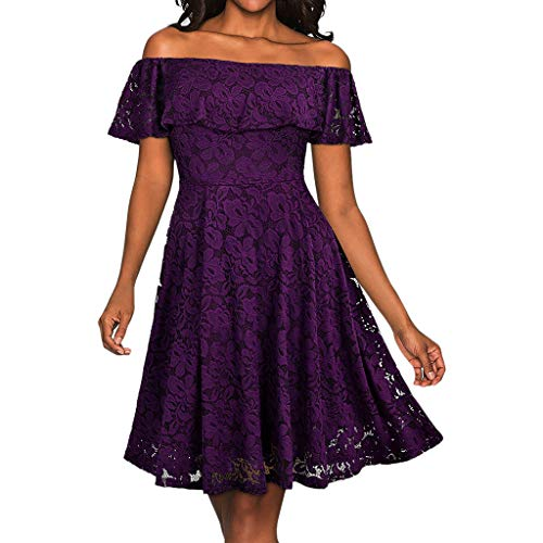 Toimothcn Women Floral Lace Butterfly Sleeve Off The Shoulder Formal Swing Dress Prom ()