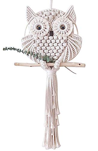 Handmade Macrame Owl Wall Hanging Tapestry Hanging Home Wall Decoration Ornament Craft ()