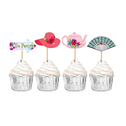 Tea Party Cupcake Toppers Cupcake Decorations for Birthday Baby Shower Bridal Shower Wedding Party Supplies 24PCS