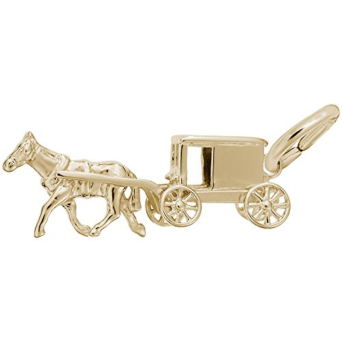 Gold Plated Amish Wagon Charm, Charms for Bracelets and Necklaces