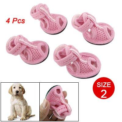 Como 4 Pcs Pet Dog Detachable Closure Pink Mesh Shoes Nonslip Sandals Size 2, My Pet Supplies