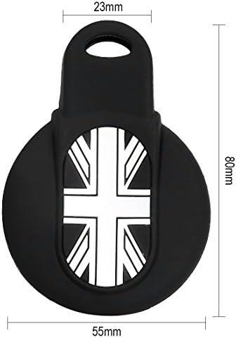 Suparee Cl/é en silicone Coque de protection pour sadapter pour mini F55 F65 Cooper Coque cl/é de protection Coque JCW John Cooper Works S F65 3 boutons Smart Key /à distance Coque Noir + Gris