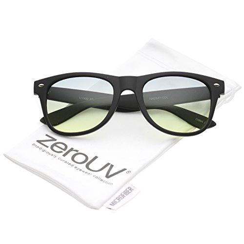 zeroUV - Rubberized Finish Wide Temple Square Gradient Lens Horn Rimmed Sunglasses 53mm (Black / - Sunglasses Spektre