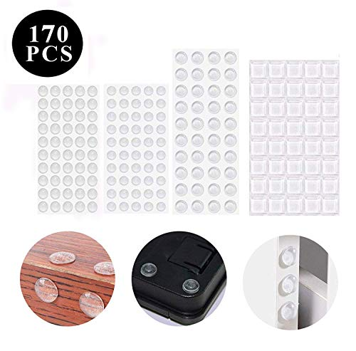ZZF-LYA Protective Bumper Furniture Buffer 160 Pieces Rubber Bumpers Rubber Bumpers Rubber Bumpers Rubber Bumper Door Bumper Transparent Self-Adhesive - for Furniture, Door, Notebook etc. (4 Sizes) ()