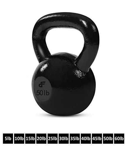 Kettlebell Weights Cast Iron by Day 1 Fitness 11 Sizes Available, 5-60 Pounds – Ballistic Exercise, Core Strength, Functional Fitness, and Weight Training Set – Free Weight, Equipment, Accessories