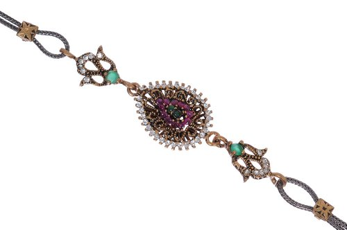 Antique-Fruit-Drop-Pear-Shape-Filigree-Gemstone-Diamond-Accent-Hurrem-Sultan-Style-Vintage-Cute-Purple-Bracelet