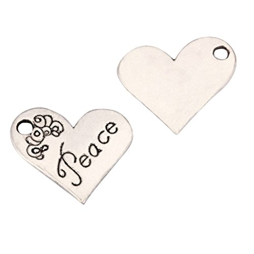 10 x Love & Peace Charms 21x19mm Antique Silver Tone for Bracelets Necklaces Earrings #mcz1084