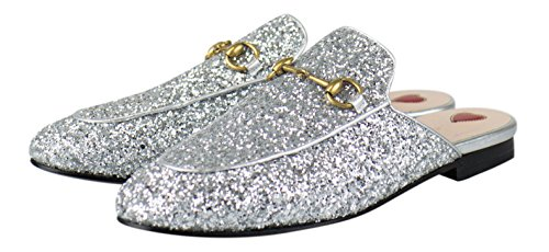 Gucci Sport Shoes (GUCCI Princetown Silver Glitter Mules Slippers Shoes Size 8 US 38 EU)