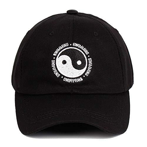 (Mac Miller Dad Hat Cotton Swimming Yin and Yang Gossip Embroidered Snapback Baseball Cap for Men and Women Black)