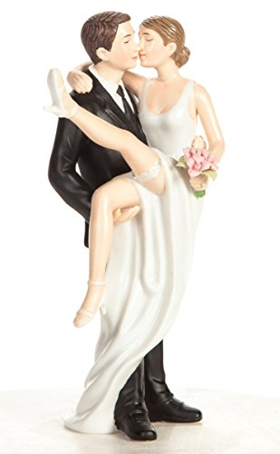 Wedding Collectibles Funny Sexy Over the Threshold Wedding Cake Topper with Bride and Groom | Fun, Sexy, Humorous Figurine | Groom Holding Bride | Fine Porcelain | 5.5 Inches