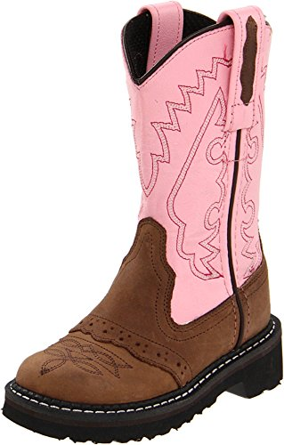 Old West Girls' Light Saddle Vamp Cowgirl Boot Round Toe Apache Tan 9 D(M) US