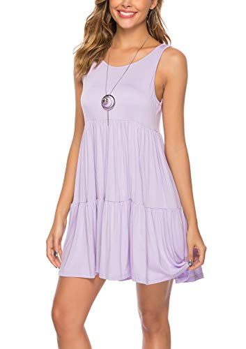 ABirdon Women's Sleeveless Scoop Neck Loose Plain Dresses Pleated Summer Casual T Shirt Dress Without Packet Knee Length Purple Gray