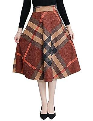 IDEALSANXUN Women's Plaid Wool A-line Midi Pleated Skirt