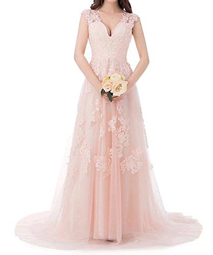V Beyonddress Hochzeit Kleider Ausschnitt Ballkleider Damen Brautkleid Tüll Brautjungfern Abendkleider Spitze Rosa Lang q8xqaT1wr
