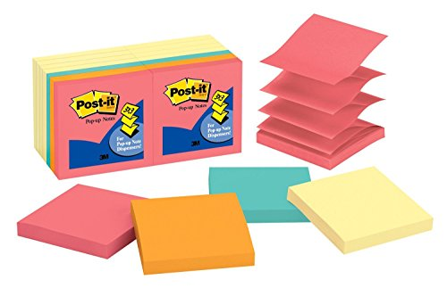 Post-it Pop-up Notes, America's #1 Favorite Sticky Note, 3 in x 3 in, Canary Yellow and Cape Town Collection, 14 Pads/Pack, 100 Sheets/Pad - Pop Canary Yellow