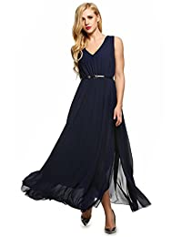 ANGVNS Women Dress Casual V-Neck Sleeveless Chiffon Maxi Slit Dress With Belt