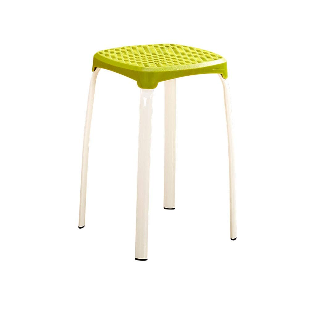 Green 2 sets Simple Stool Home Plastic Chair Thickening Adult Living Room Small Bench Modern Minimalist Dining Table High Stool Space Saving (color   Black, Size   2 Sets)