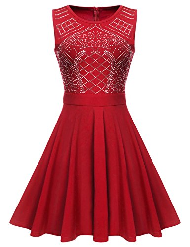 Sleeveless A Line Sequin Embellished Party Short Dress Red M ()