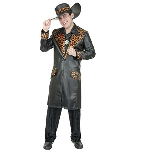 Charades,Adult Leather Cheetah Pimp Suit,Black,Large 42-44