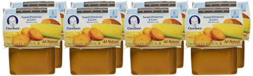 Gerber 2nd Foods Sweet Potatoes & Corn, 4 Ounce Tubs, 2 Count (Pack of 8)