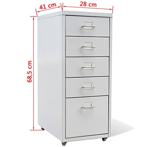 Amazon.com : Festnight 5 Drawers Mobile Metal File Cabinet with Rolling Casters Heavy Duty Metal Frame Storage Letter Filing Cabinet for Office Home ...