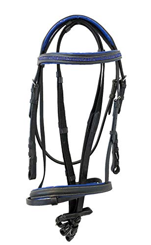 - Equitem Black Leather English Pony Size Bridle with Blue Crystal Brow with Web Reins