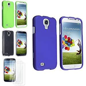 Bloutina eForCity Blue + Green + Clear 3pc Hard Case + 3 Clear LCD Protector Compatible with Samsung Galaxy S4 i9500
