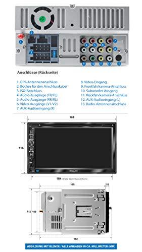 xomax xm-2dn6906 autoradio mit mirrorlink i gps navigation i navi software inkl. europa karten i bluetooth freisprecheinrichtung i 18cm touchscreen bildschirm i dvd cd player i sd i usb i aux i 2 din