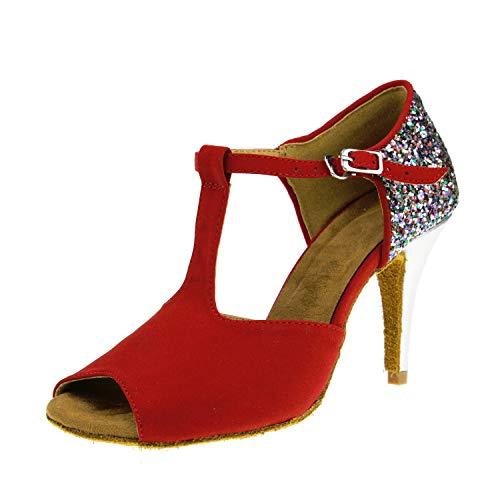 Souple Fond Paillettes Corail Danse nbsp;escarpins nbsp; En De Latines Flared Sandales Red7cm Heel 1999 Femmes Polaire À Chaussures nbsp; Pwv0Wqz